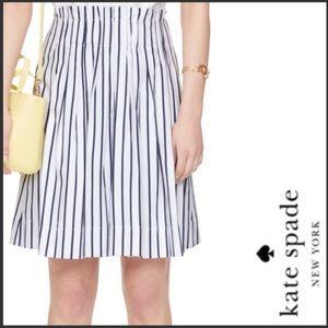 Kate Spade Broome Street White Striped Midi Skirt